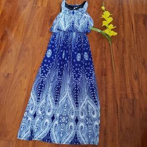 New Stylish Ladies Blue and White Maxi Dress
